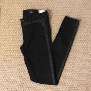 NWT AG Black Tuxedo Super Skinny Jeans